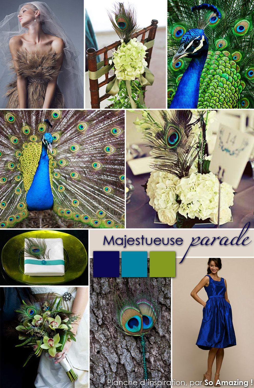 decoration mariage poitiers plumes de paon decor bleu