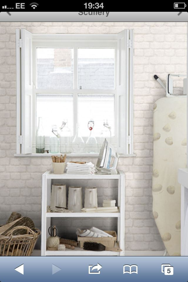 Brick Effect Wallpaper For Kitchen With White Silk Paint From Direct