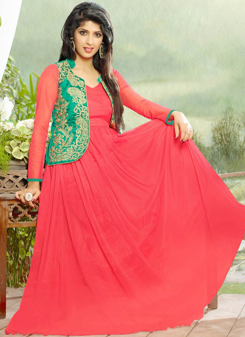Red Net Gown With Zari Work