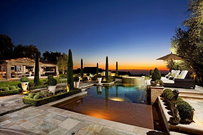 Modern pool patio deck night lighting landscaping | Backyards ...