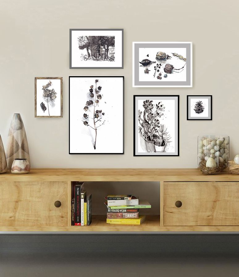 Gallery wall set of 6 botanical prints black white beige art living room wall art bw ink drawing set gallery wall set herb prints set