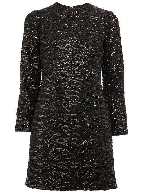 Compre Saint Laurent Vestido de seda com paetês.