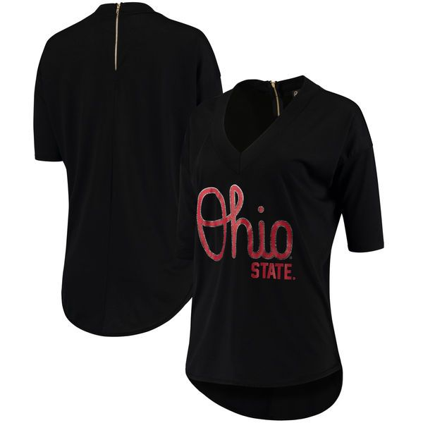 Ohio State Buckeyes Women's Black Weekender Team Color Deep V-Neck Half-Sleeve T-Shirt #ohiostatebuckeyes