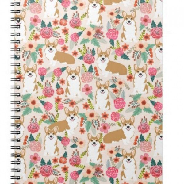 Floral Corgi Spiral Notebook