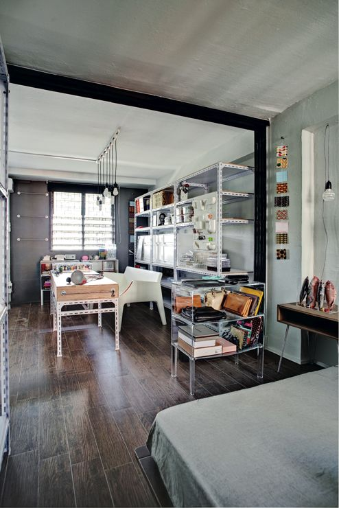 Living Room Design Hdb Flat: Local Converted Hdb Flat With Retro-industrial Vibe