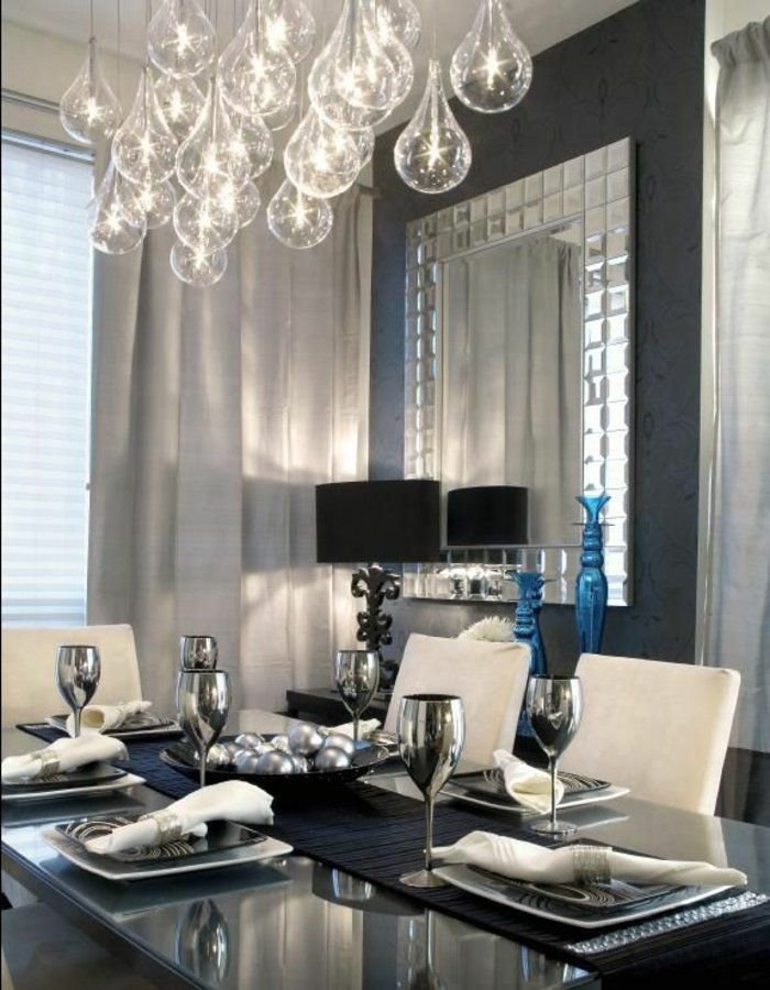 voici la salle manger contemporaine en 62 photos lustres en cristal lustre et la salle. Black Bedroom Furniture Sets. Home Design Ideas