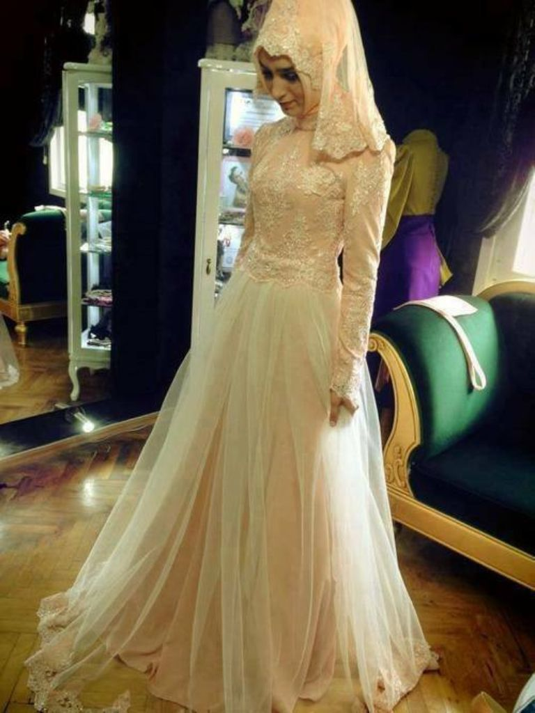 Simple Stunning Muslim Wedding Gown Beautiful Dresses Islamic Dress [ 1024 x 768 Pixel ]