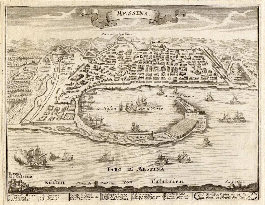"""'Messina' J. Stridbeck Jr., 1710 """"La città è ritratta"""
