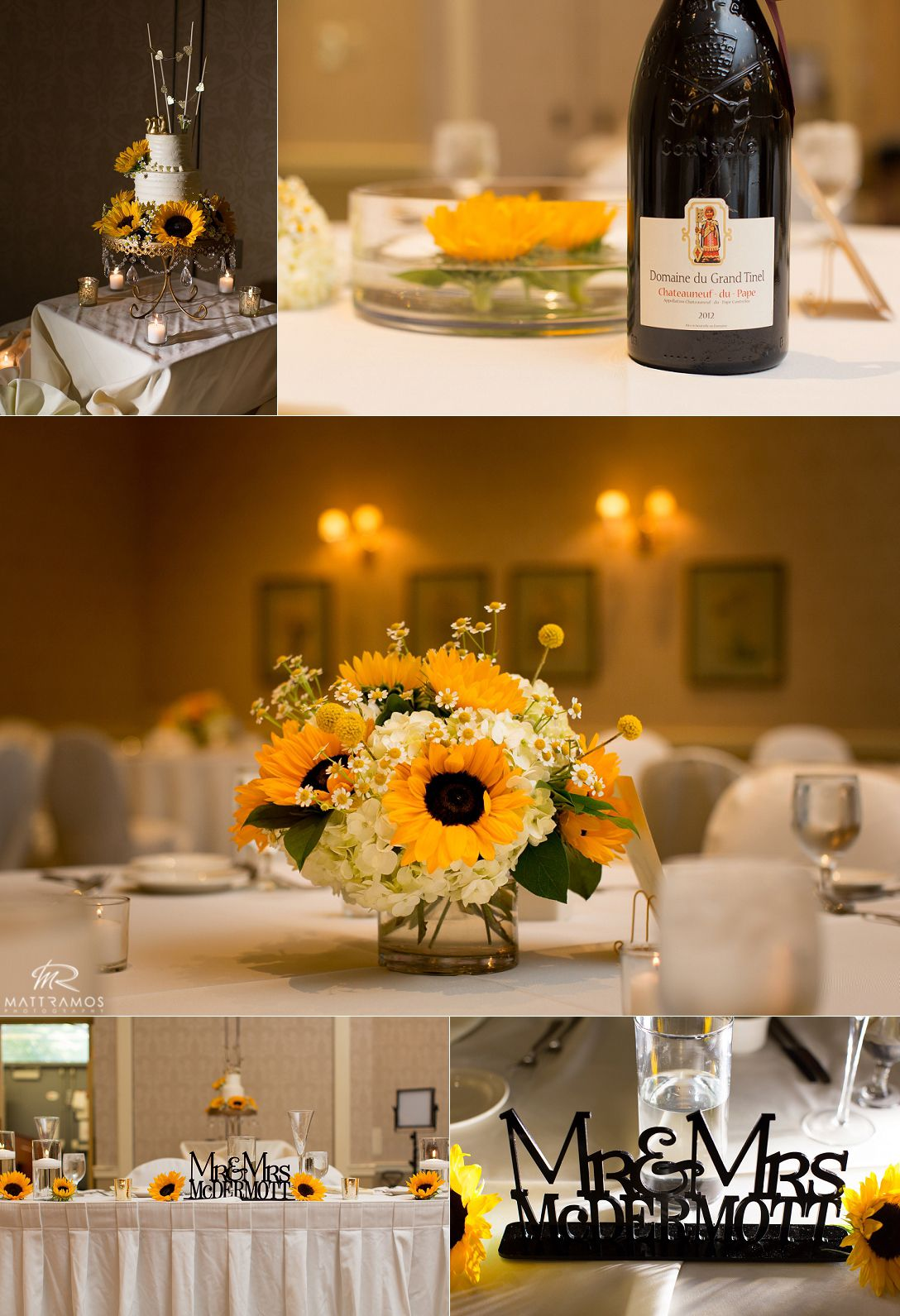 Sunflower centerpiece summer wedding sunflowers