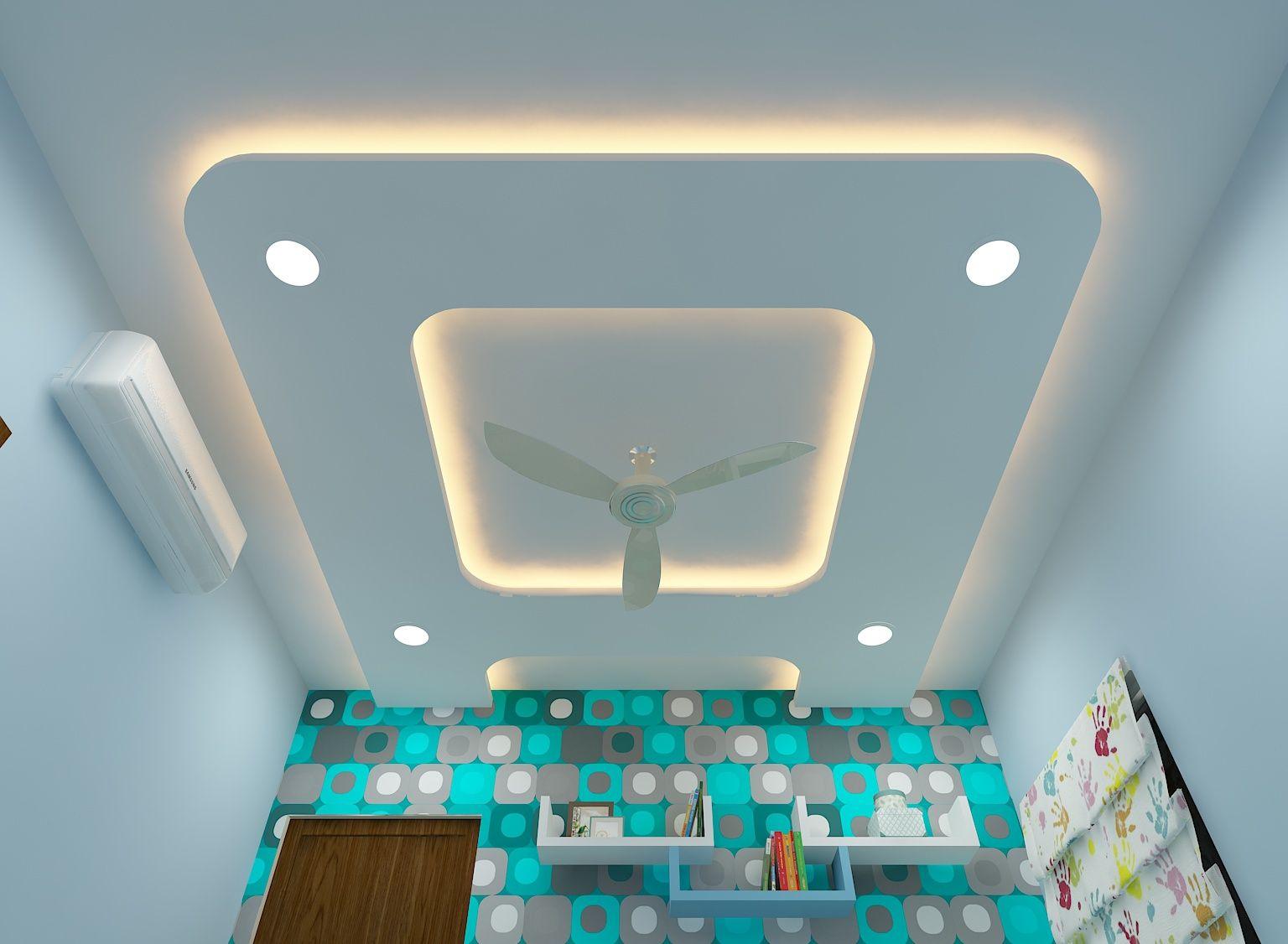 A- shape false ceiling in boy's bedroom, wall shelves ...
