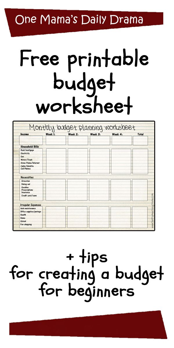 free printable monthly budget worksheet best of one mama s daily