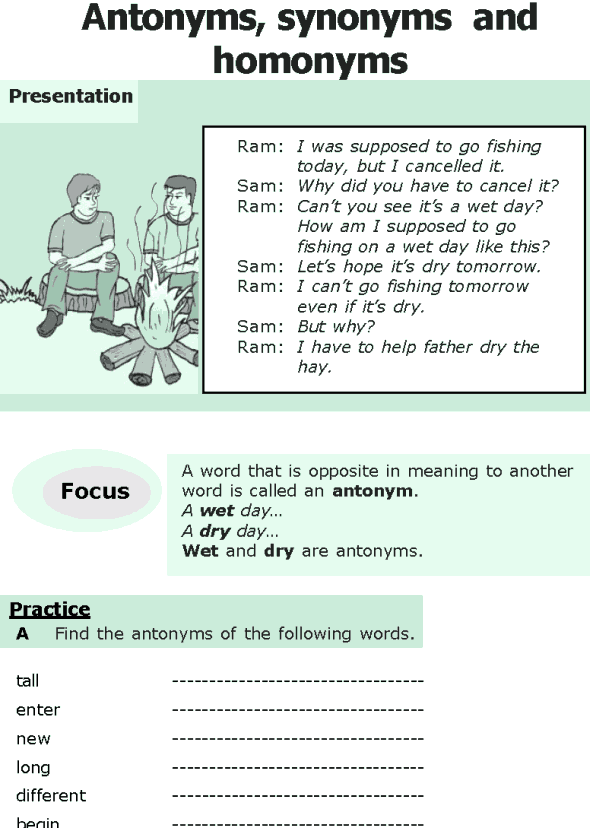 Grade 6 Grammar Lesson 14 Antonyms, synonyms and homonyms (0