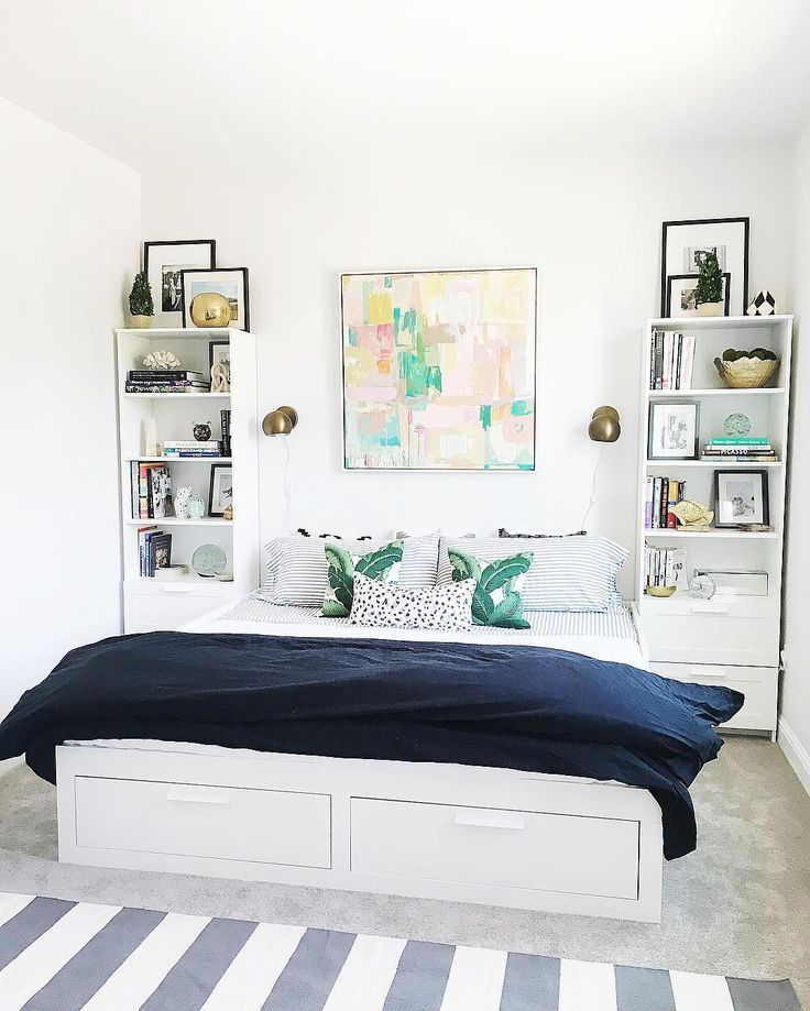Brimnes Daybed Ikea Brimnes Guest Room Abstract Art Black Grey White Gold Green Palm Prints Pillows L S I N T E R I O R S Lindsaysacc Guest Bedroom Office Bedroom Decor Cozy Woman Bedroom