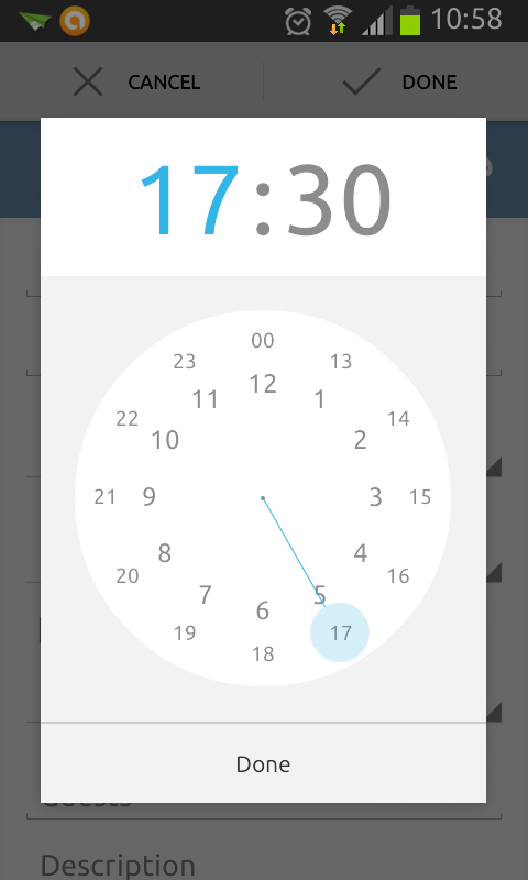 Google Calendar Android Time Picker | Mobile Pickers