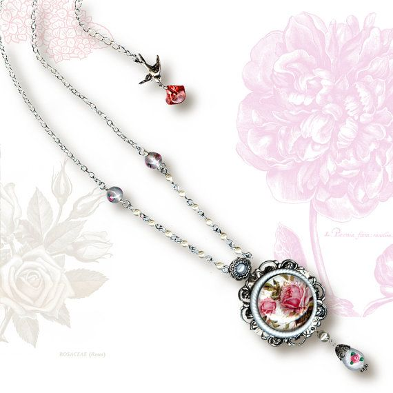 Shabby Chic Rose Necklace  Glass Cabochon
