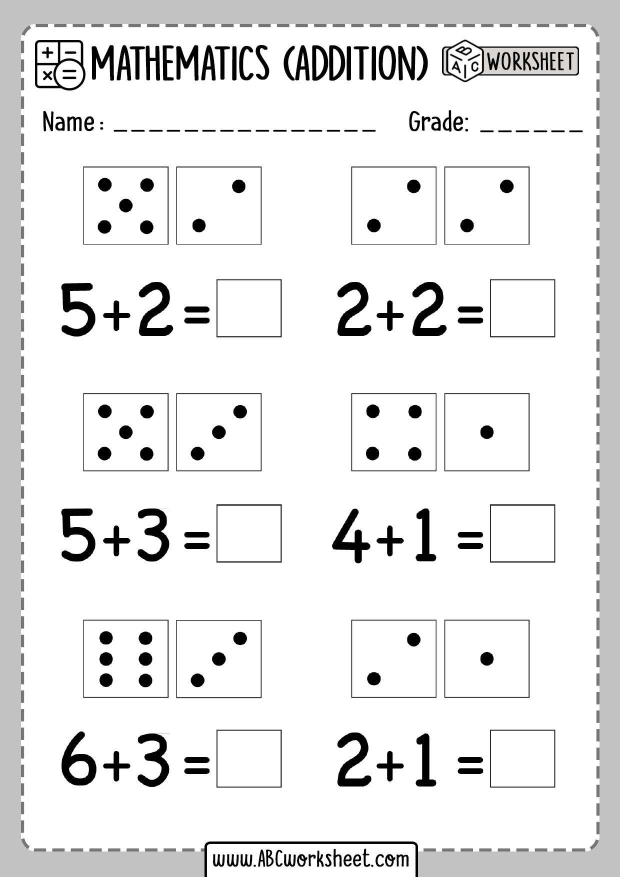Kindergarten Dice Addition Worksheets In