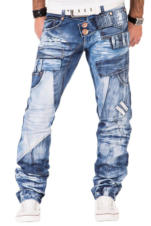 Kosmo Lupo Herren Jeans Denim Hose Japan Style Vintage Clubwear Chino Used  Blau  f35fe08990
