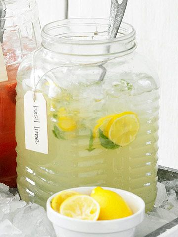 An oversized container with a ladle is an easy way to serve guests lemonade. Try one of our twists on classic lemonade: http://www.bhg.com/recipes/party/seasonal/a-barbecue-menu-for-12-under-100-/?socsrc=bhgpin071012#page=7
