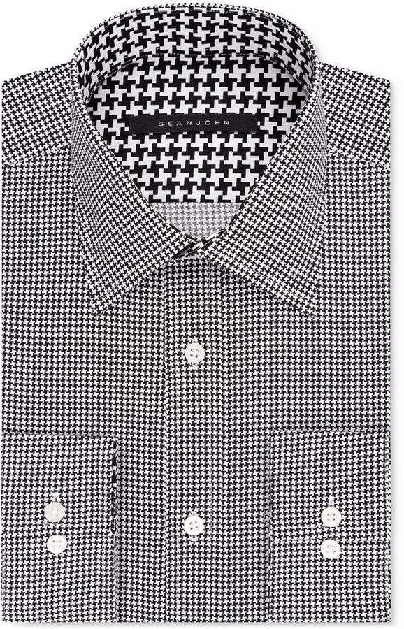 a0c57c506bb Sean John Classic Regular Fit Men s Big   Tall Classic-Fit Black  Houndstooth Dress Shirt