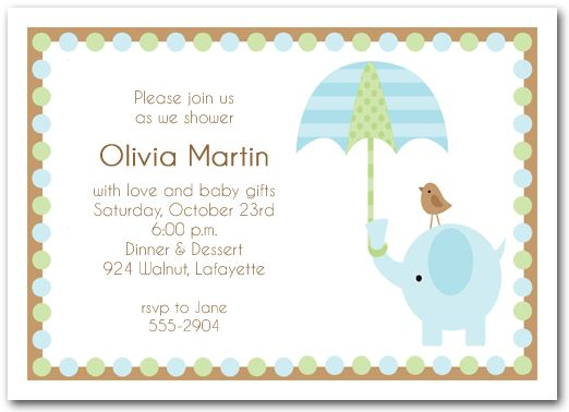 Elephant Umbrella Boy Baby Shower Invitations Baby Shower