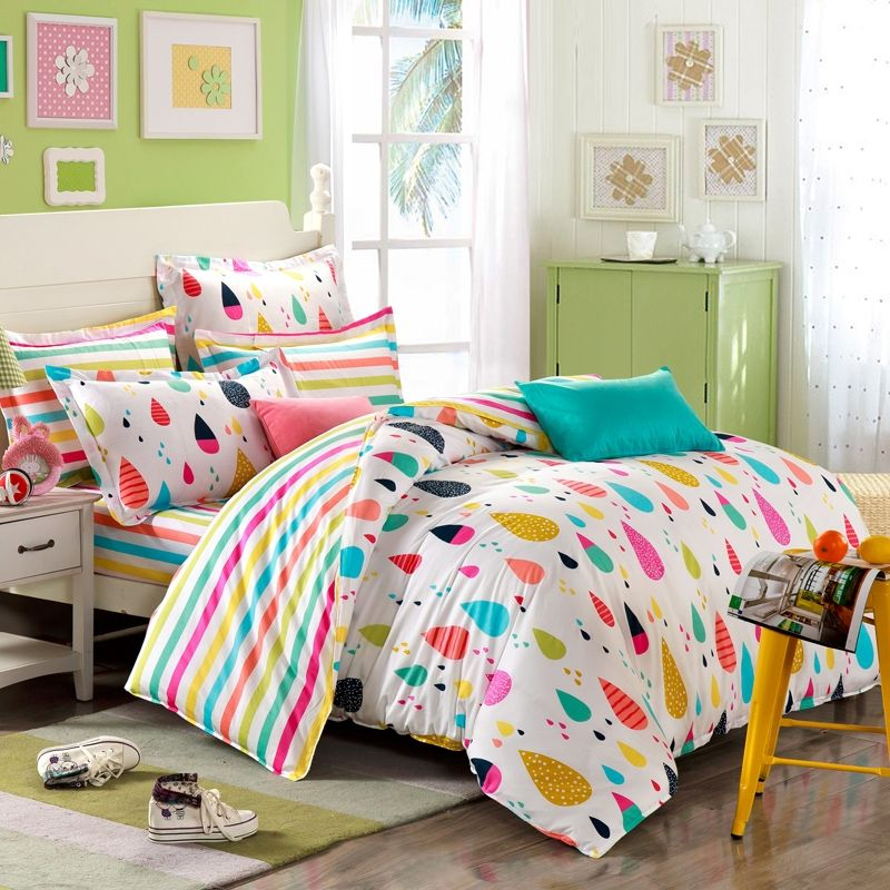 Orange Blue And Red Colorful Rain Drop With Rainbow Stripe Sheet Pastel Style Personalized 100 Cotton Toile Twin Full Bedding Sets Comforter Duvet Cover Bed