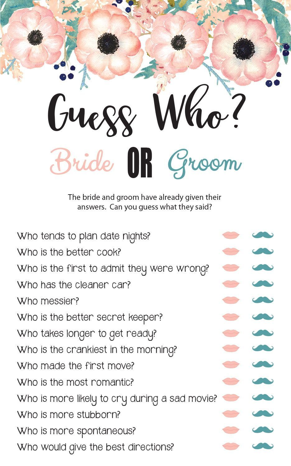 Guess Who Bridal Shower Game, Wedding Shower Games, Engagement Party Game, Floral Theme, Printable, Couples Shower Games, D1734 -   - #BachelorParties #BachelorettePartyGames #BachelorettePartyideas #Bridal #Couples #D1734 #engagement #floral #Game #games #guess #party #printable #shower #Theme #wedding