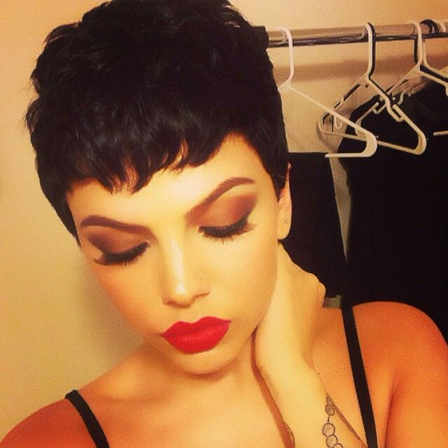 Short Pixie Black Hair Red Lips Draw Her Hair Inspiration