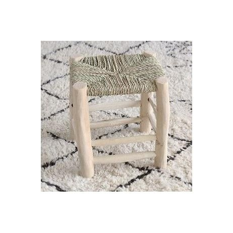 tabouret marocain taille m en bois brut et paille maroc. Black Bedroom Furniture Sets. Home Design Ideas