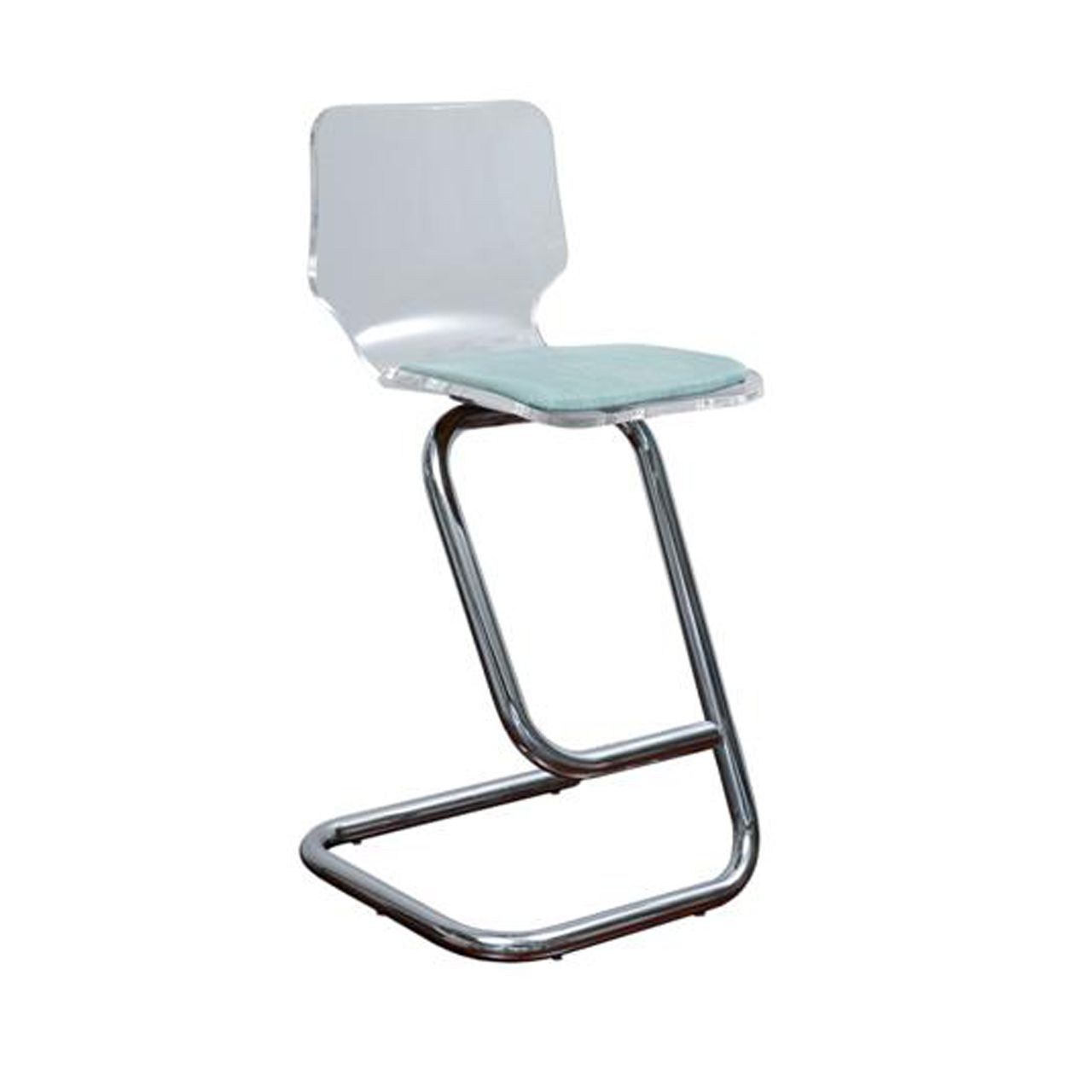lucite chrome barstools used in the kitchen with