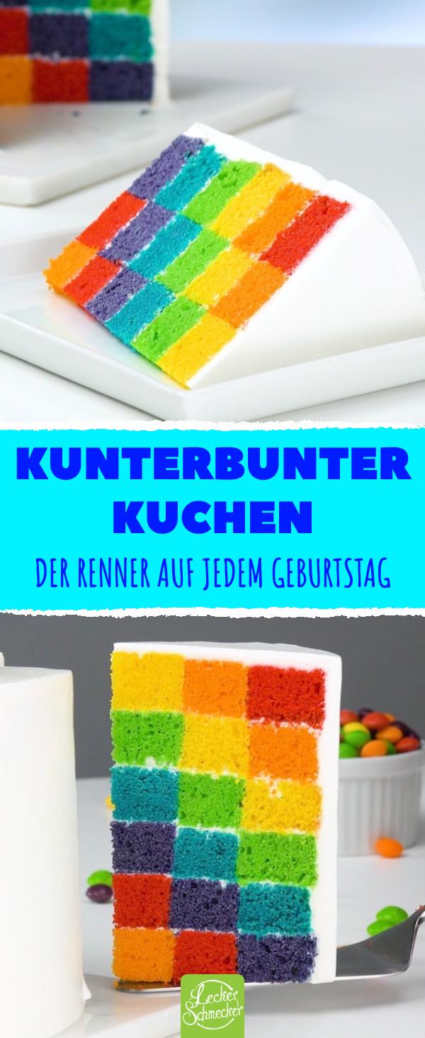 Farbenfroher Geburtstagskuchen für Groß und Klein