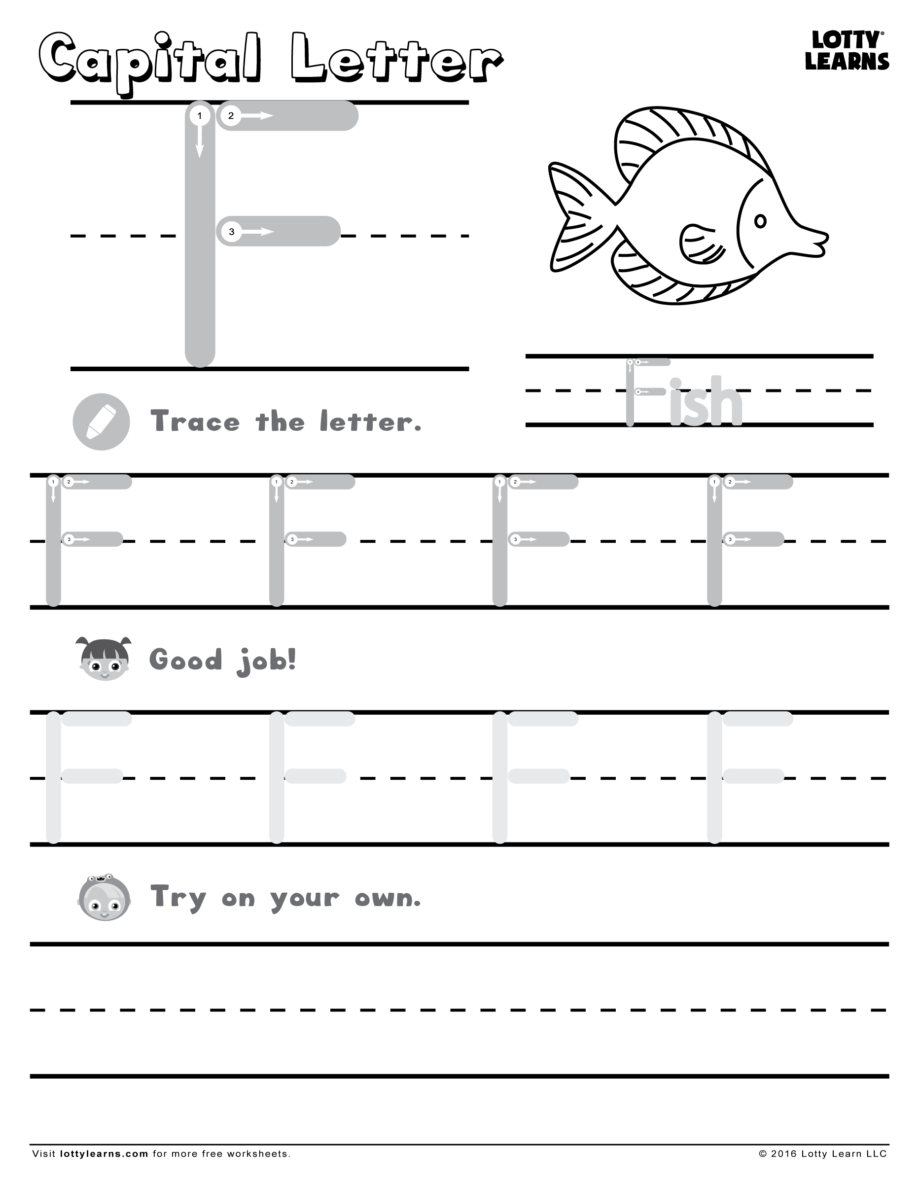 Capital Letter F Lotty Learns – Capital Letter Worksheets for Kindergarten
