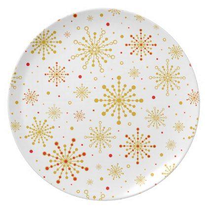 Retro Graphic Snowflake Dinner Plate - holidays diy custom design ...