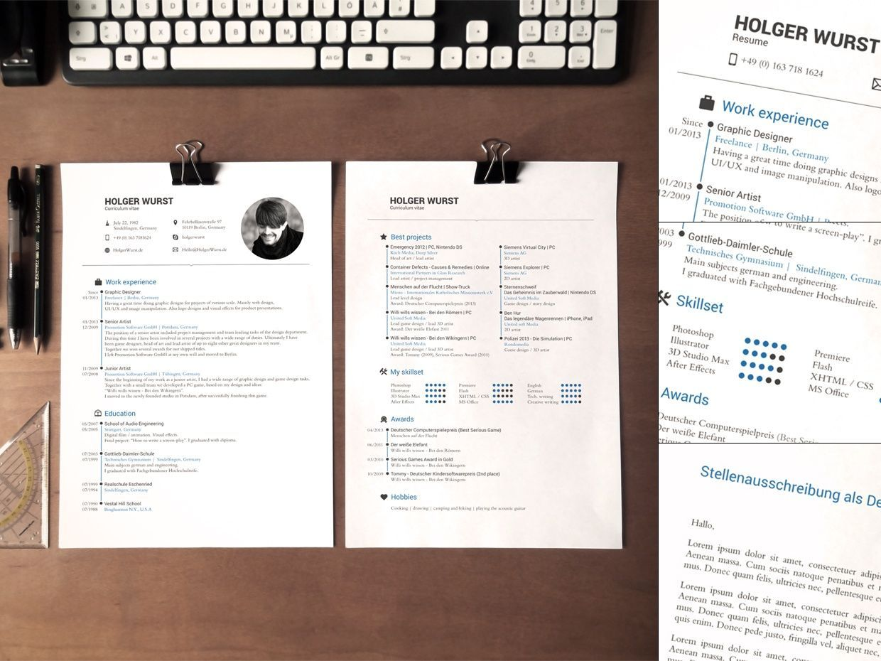 Application Documents Template v01 (CV/Resume/Cover letter)   Bewerbung