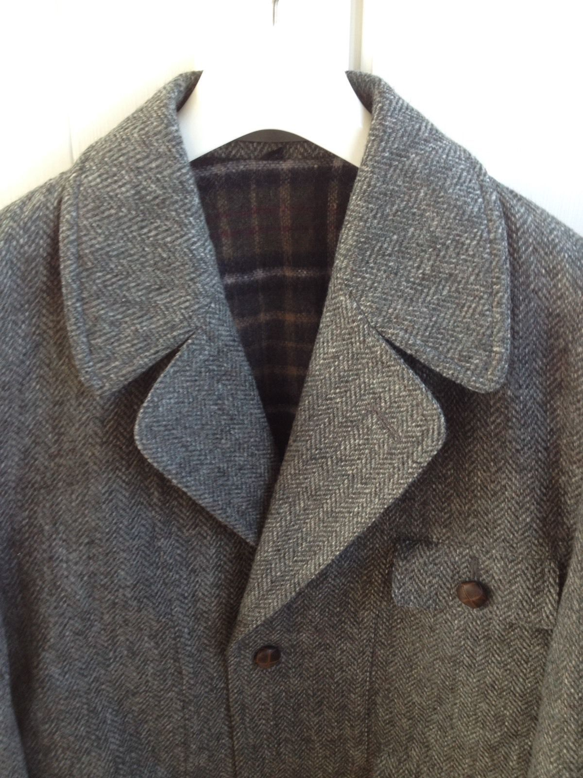 Vintage Austin Reed Wool Tweed Jacket Coat Houndstooth Plaid Lining Men S Xl 44