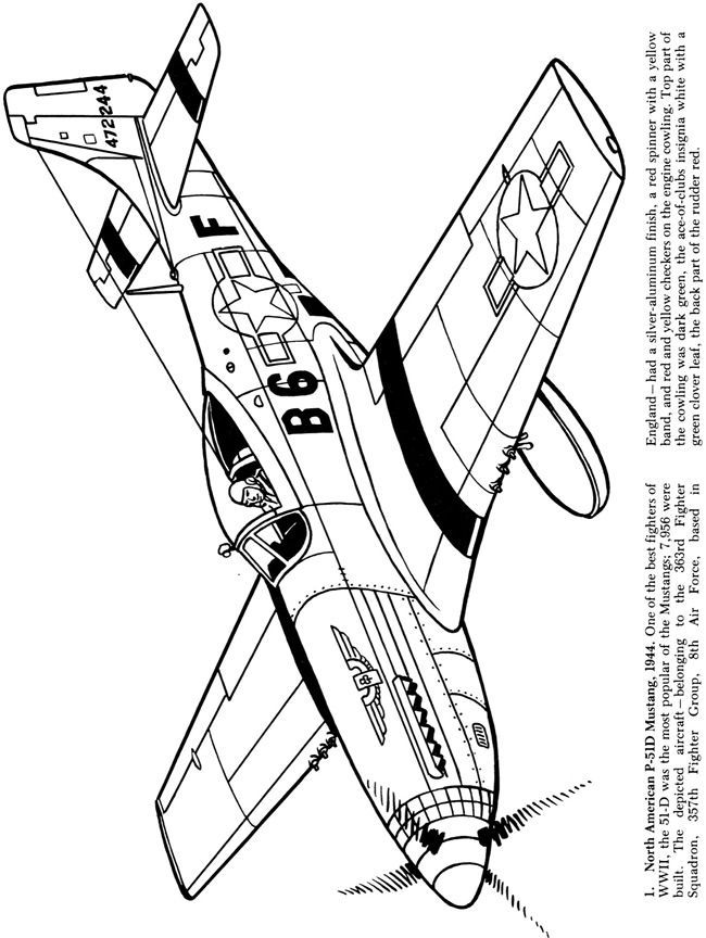 Airplanes of the second world war coloring book dover for World war 2 coloring pages printable