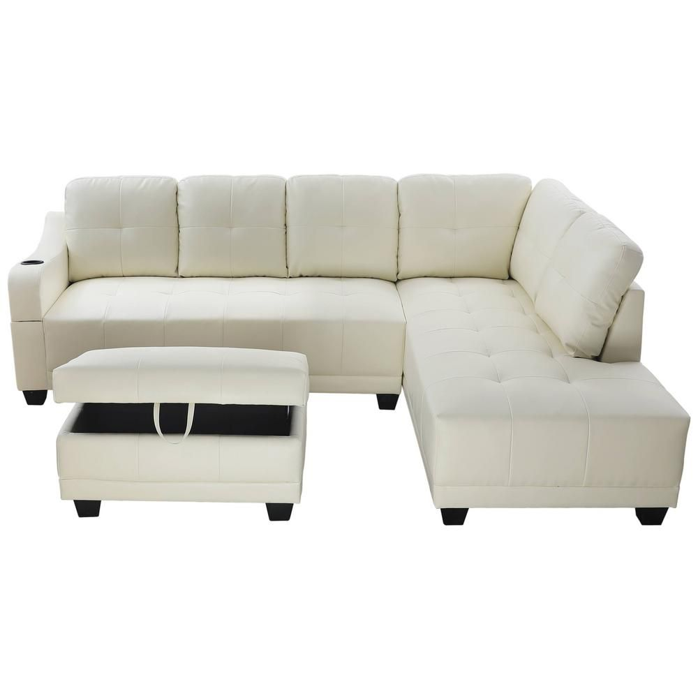 Star Home Living Shelly Off White Right Facing Sectional Sofa With Ottoman Sh7302b Sectional Sofa Leather Sectional Ottoman