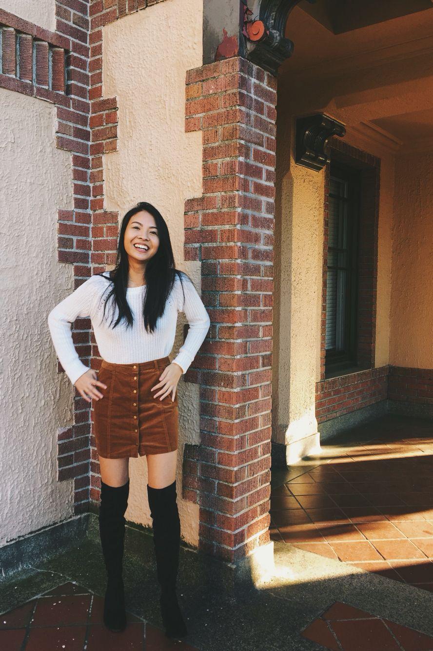 White Sweater Corduroy Skirt And Knee High Boots Vanessaneyugn Typisch Original