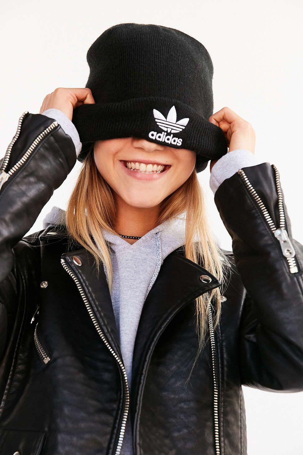 e26b3c6fe8b adidas Originals Trefoil Cuff Beanie - Urban Outfitters