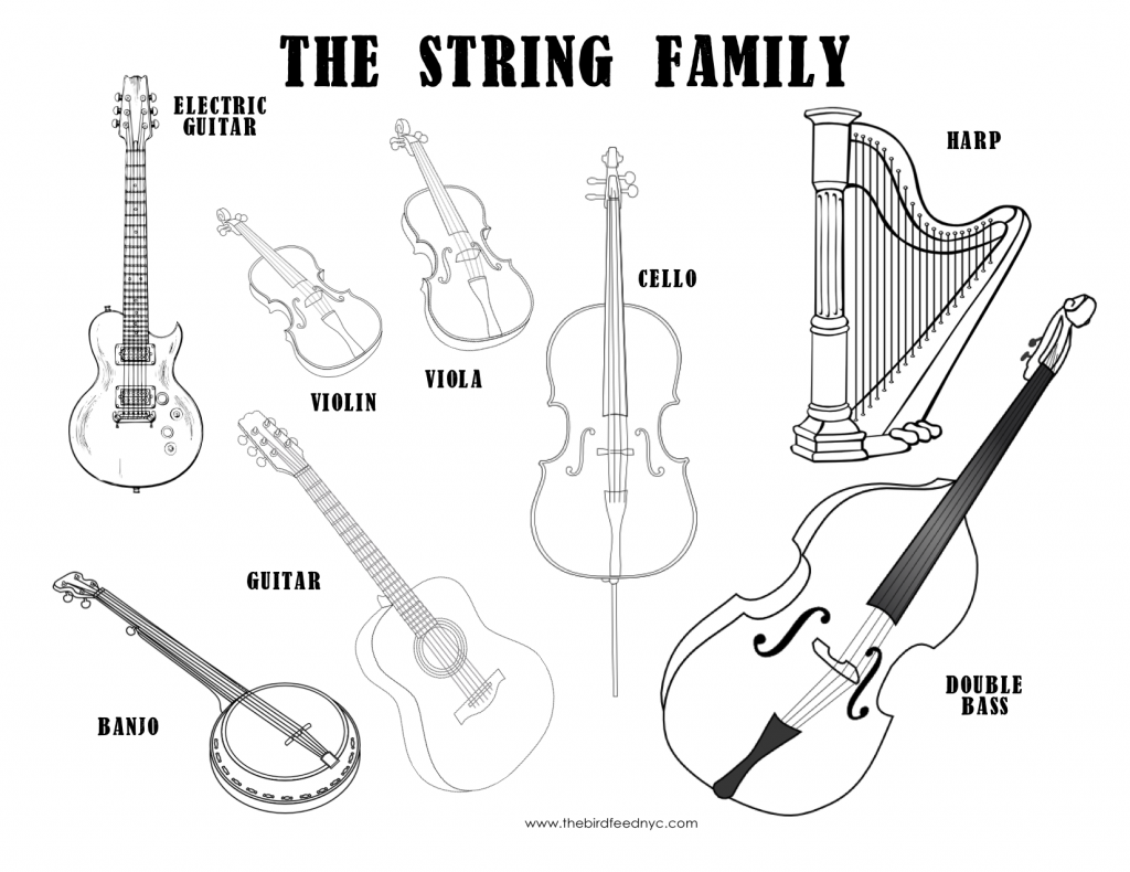 musical instruments coloring sheet- the string family | music : free