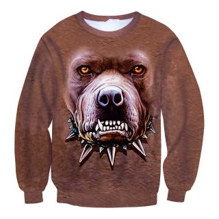 3D animal sweatshirt men's autumn dog pullover sweatshirt metal chain