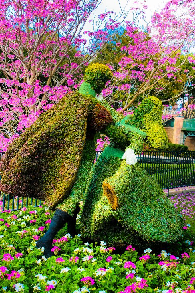 Disney world prince phillip and aurora topiaries for Jardin walt disney