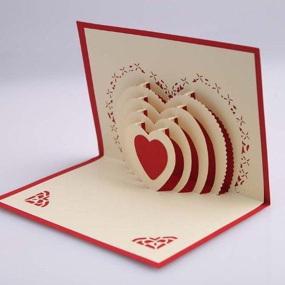 5pcs Lot 3d Pop Up Card Diy Drawing Love Heart Design Card For Wedding Birthday Festival Cool Birthday Cards Pop Up Christmas Cards Birthday Cards For Men