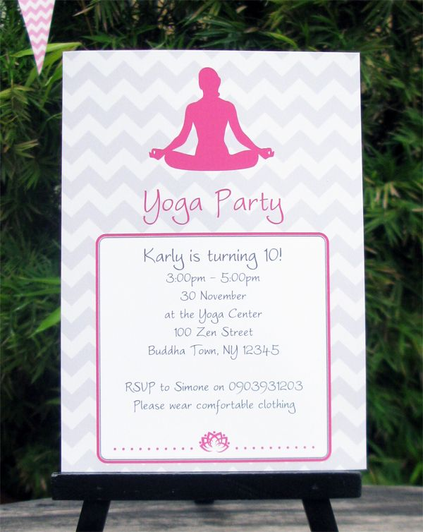 Yoga birthday party invitations decorations party invitations yoga birthday party invitations printable template stopboris Image collections