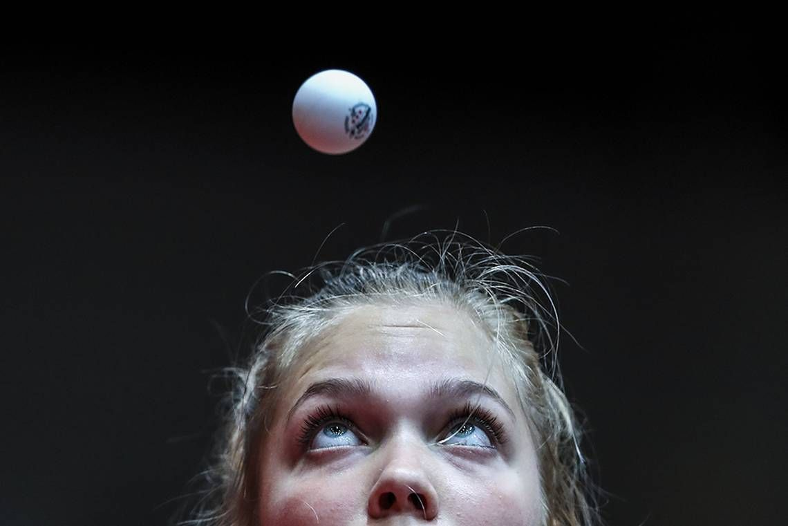 Maya Hitij Captures The Moment That Christina Kallberg Of Sweden Eyes A Table Tennis Ball During A Tabl Sports Photograph Tennis Match Tennis Clothes