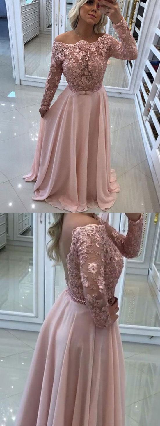Aline off the shoulder lace top chiffon prom dresses with long