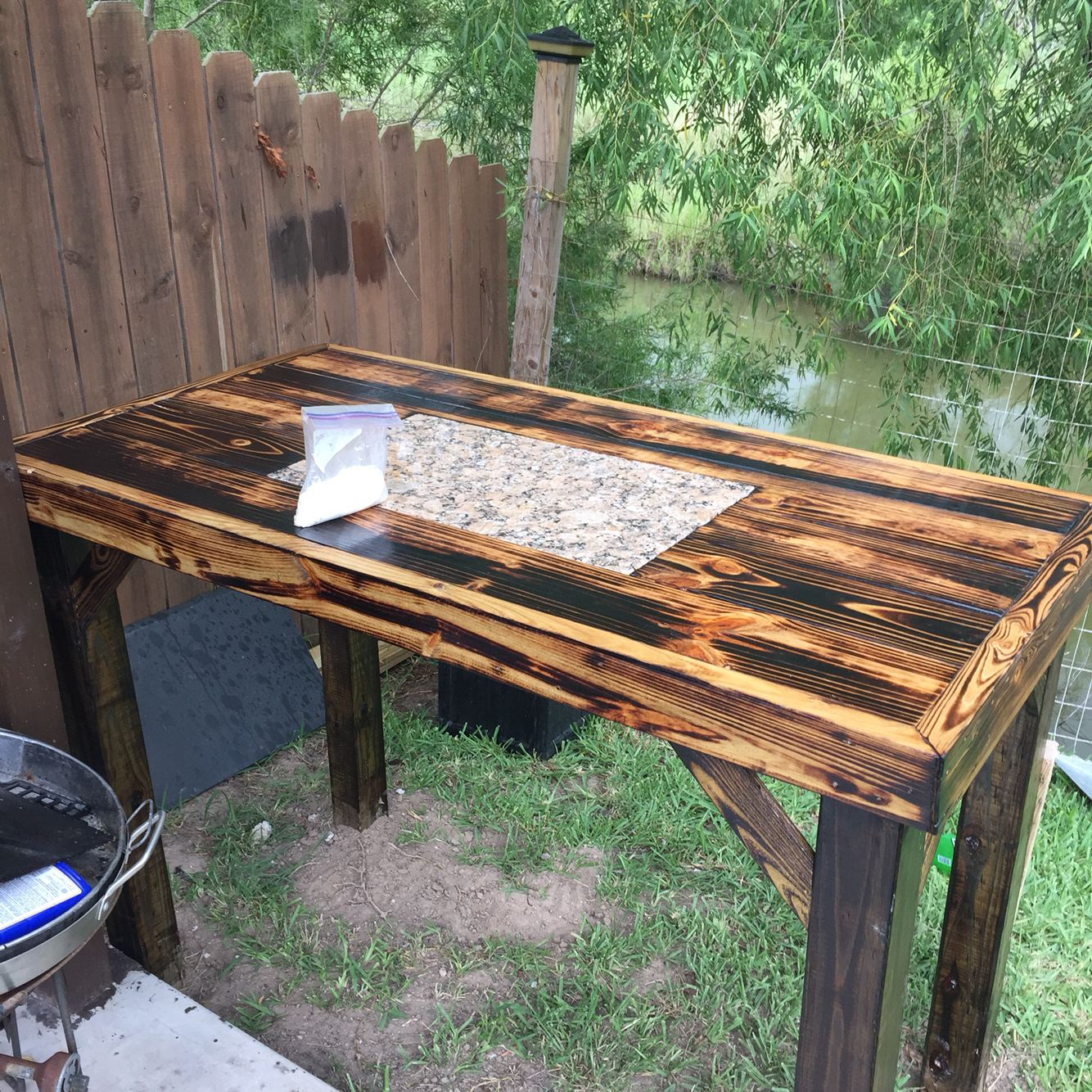 Custom Made Prep Table. This Is A Custom Made Prep Table That Is Made With  Treated Wood. It Is Sunk Into The Ground On Pressure Treated Wood Fence  Post For ...