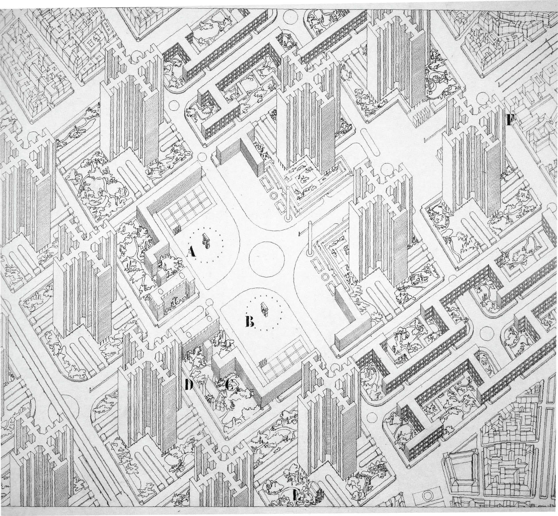 Le Corbusier's 1924 utopian proposal, the Ville Radieuse