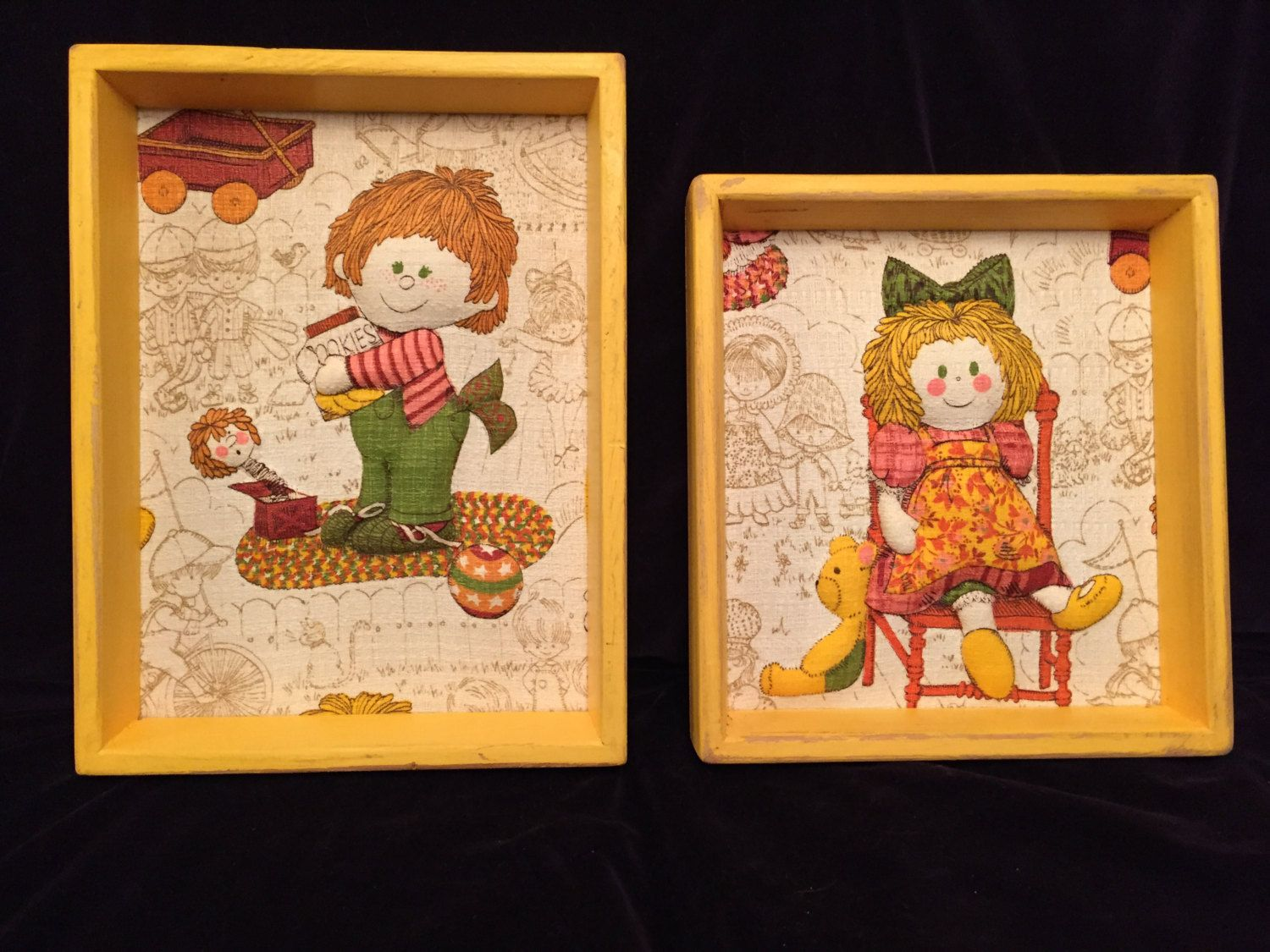 Vintage Folk Art Wall Picture Quilted Framed Boy Girl Puffy Fabric ...