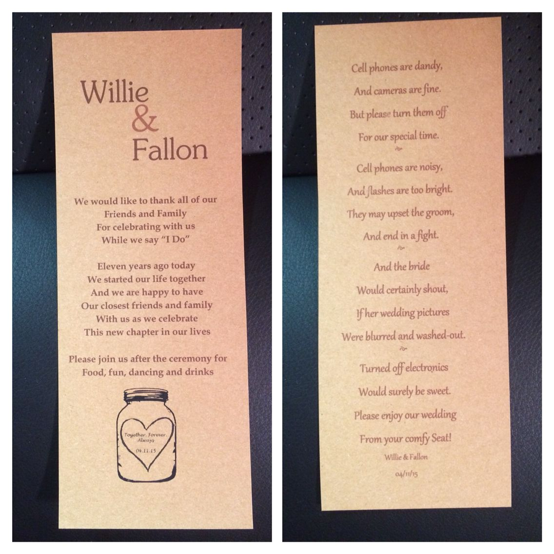 Wedding Program Made From 85x11 Cardstock Walmart I Printed Each Side With 3