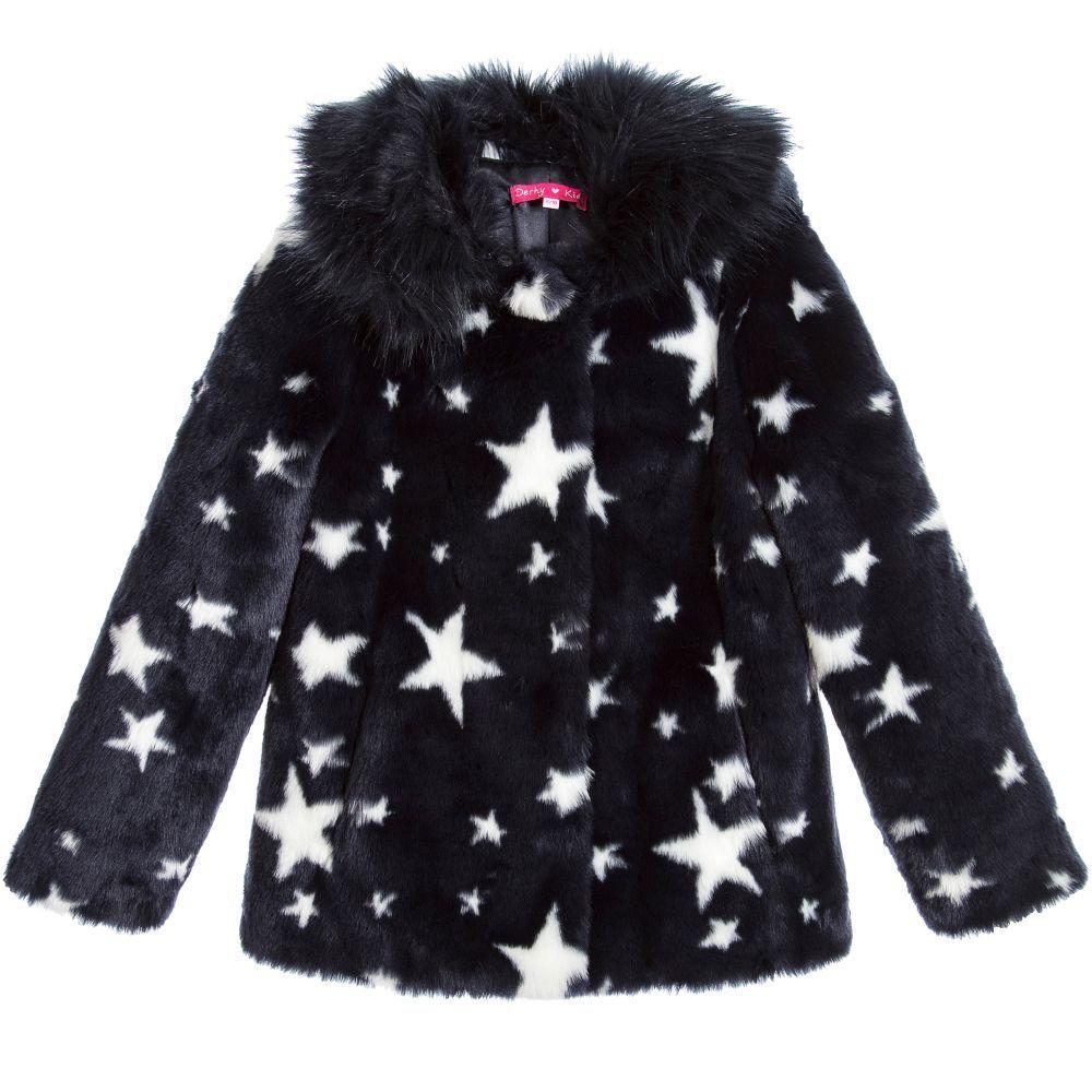 79db65b46 Derhy Kids Girls Navy Blue Star Coat at Childrensalon.com